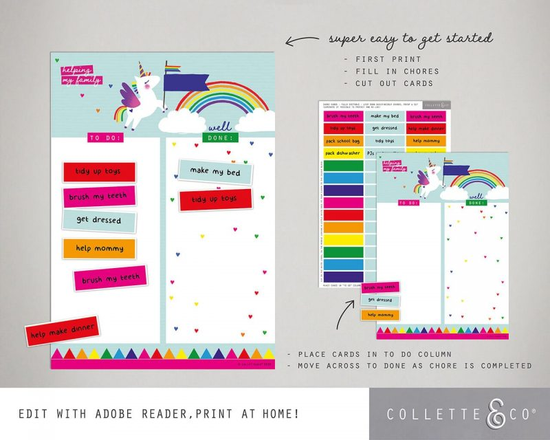 Unicorn chore chart printable Editable Collette and Co 1