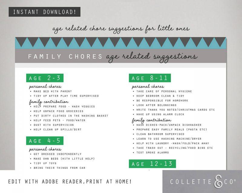 Unicorn chore chart printable Editable Collette and Co 2