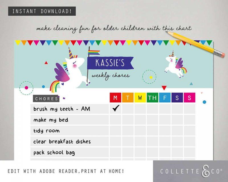 Unicorn chore chart printable Editable Collette and Co 3