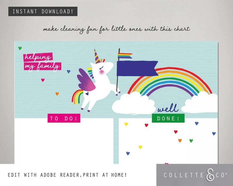 Unicorn chore chart printable Editable Collette and Co 5