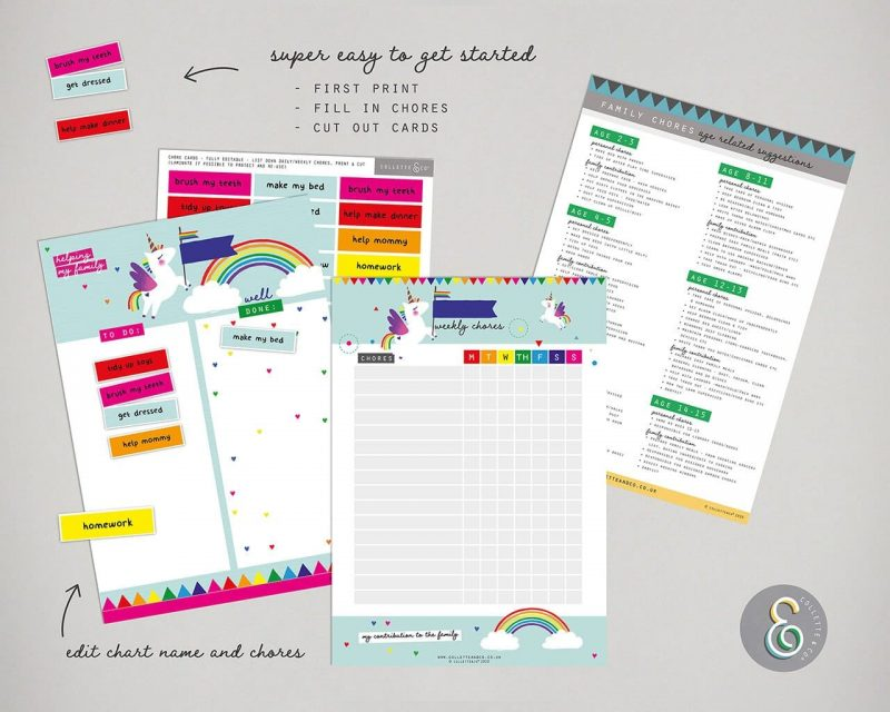 Unicorn chore chart printable Editable Collette and Co 6