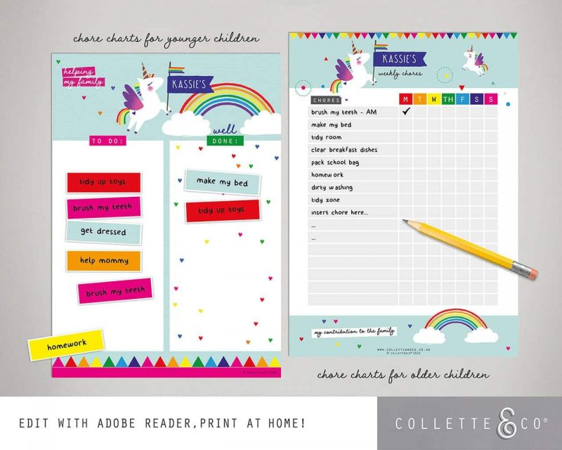 Unicorn chore chart printable Editable Collette and Co 7