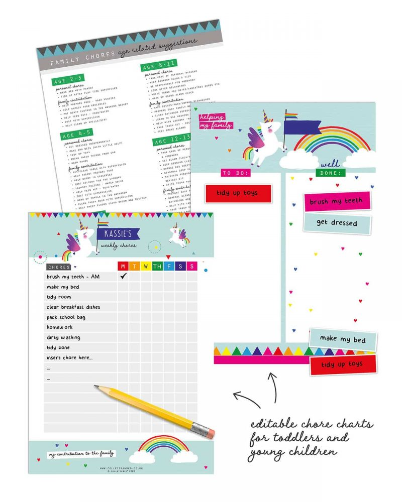 Unicorn chore chart printable Editable Collette and Co 8