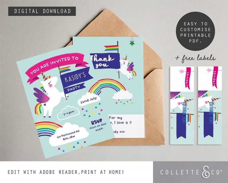 Unicorn stationery pack Collette and Co3