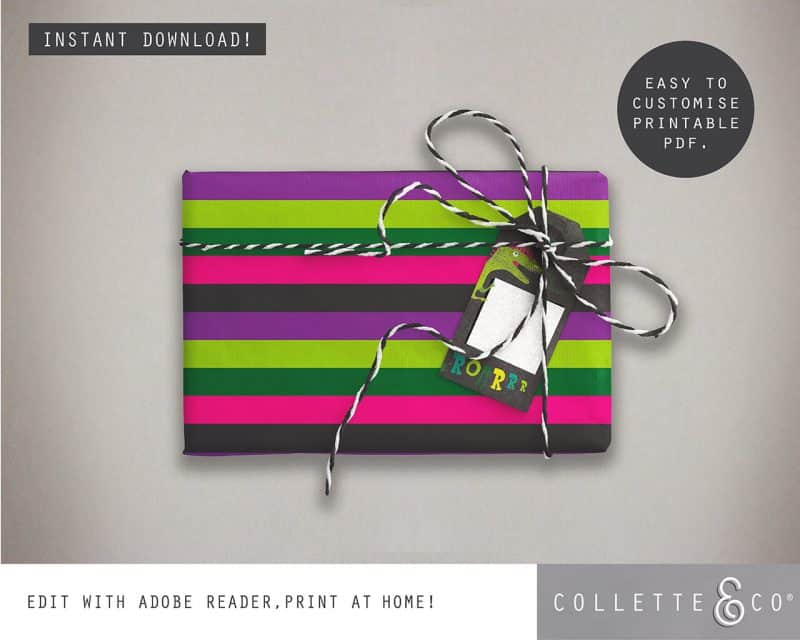 Girl Dinosaur Giftwrap Party Favor Bundle Printable Editable Collette and Co 2