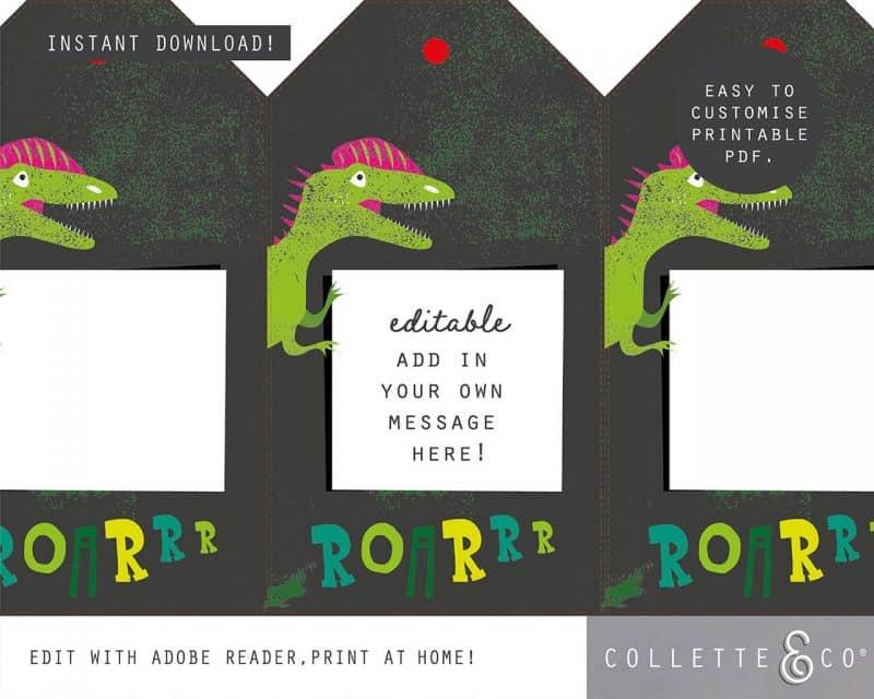 Girl Dinosaur Giftwrap Party Favor Bundle Printable Editable Collette and Co 3