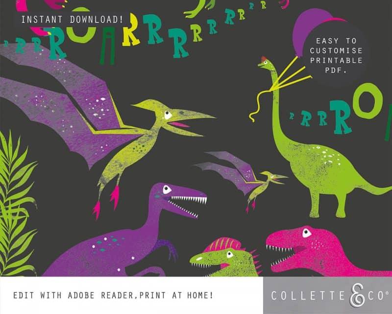 Girl Dinosaur Giftwrap Party Favor Bundle Printable Editable Collette and Co 5