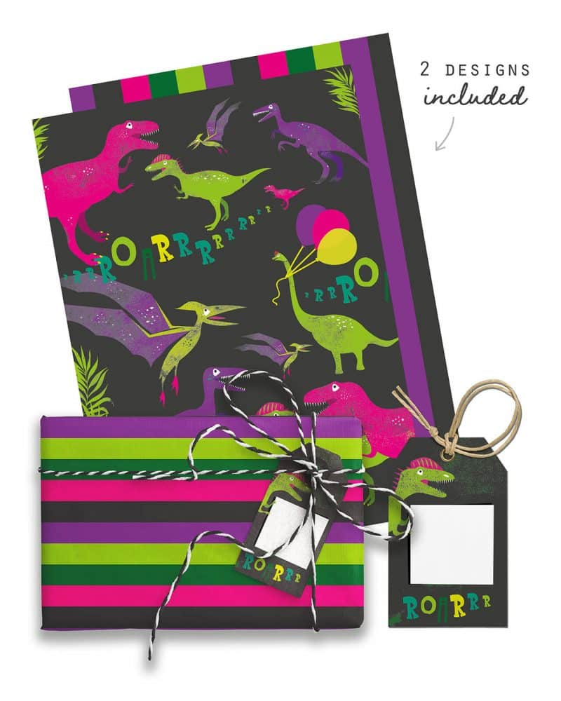 Girl Dinosaur Giftwrap Party Favor Bundle Printable Editable Collette and Co 6
