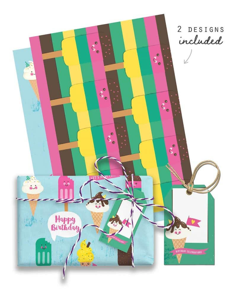 Ice Cream Giftwrap Party Favor Bundle Printables Collette and Co 1