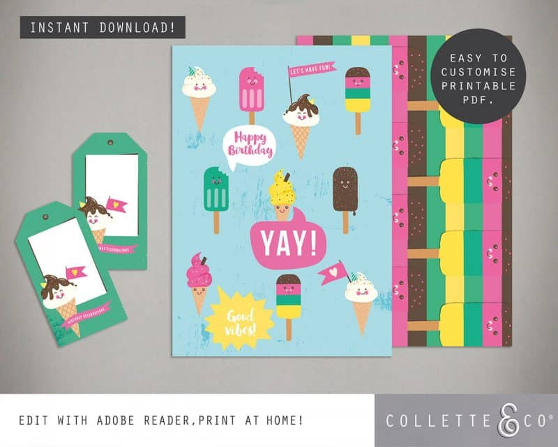 Ice Cream Giftwrap Party Favor Bundle Printables Collette and Co 2