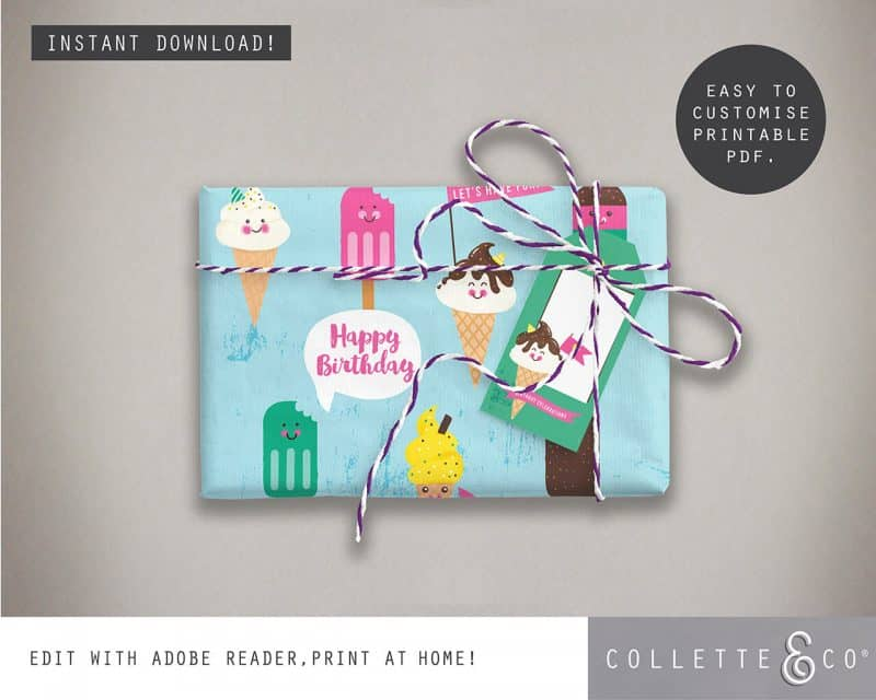 Ice Cream Giftwrap Party Favor Bundle Printables Collette and Co 3