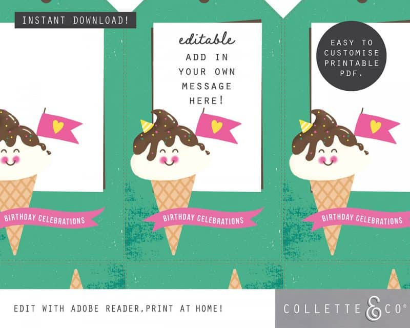 Ice Cream Giftwrap Party Favor Bundle Printables Collette and Co 4
