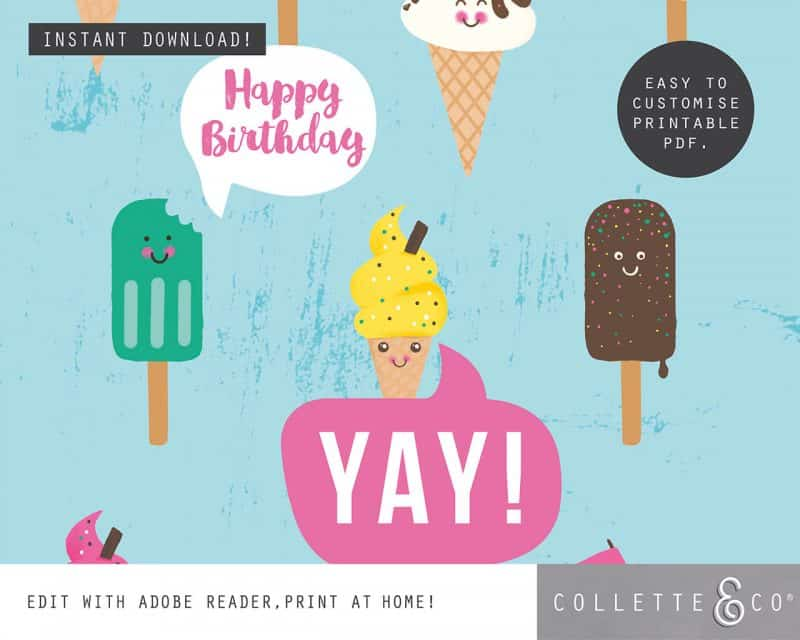 Ice Cream Giftwrap Party Favor Bundle Printables Collette and Co 6