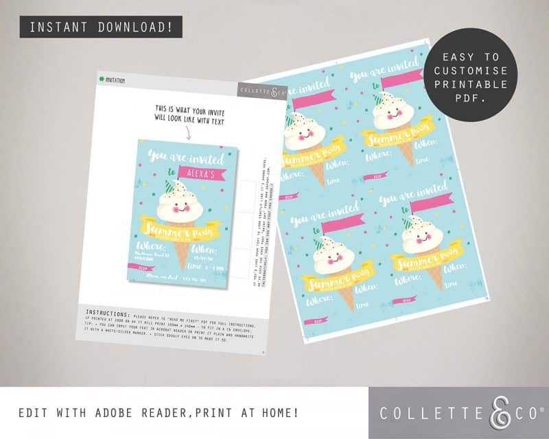 Ice Cream stationery pack Printables Collette and Co 3