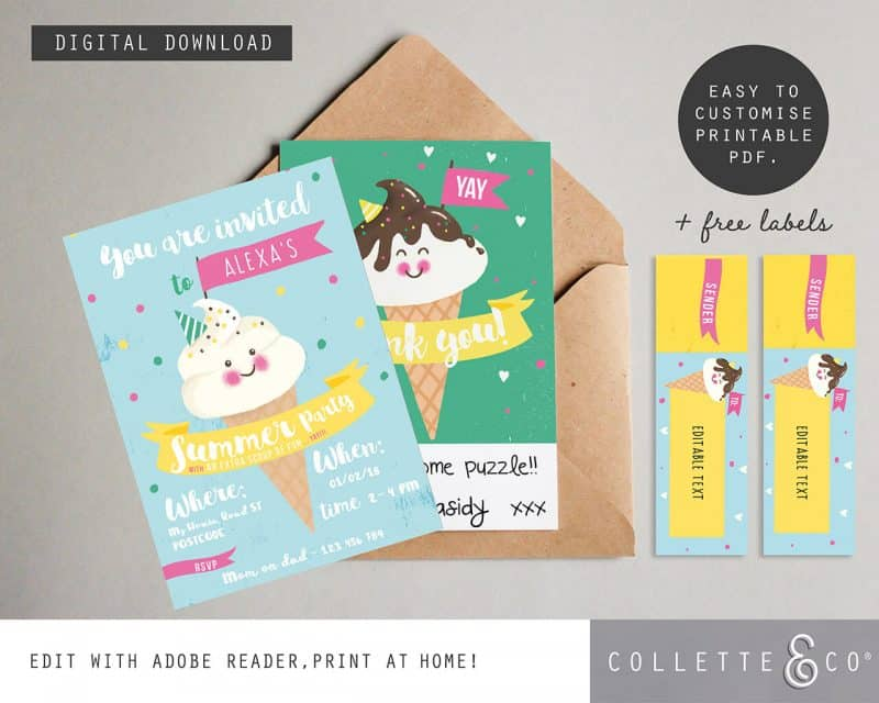Ice Cream stationery pack Printables Collette and Co 7