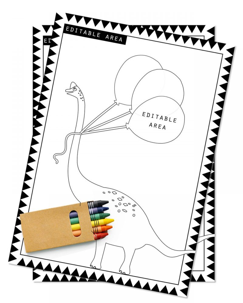 Printable Girl Dinosaur Pink Party Activity Sheets Coloring In Editable Collette and Co 1