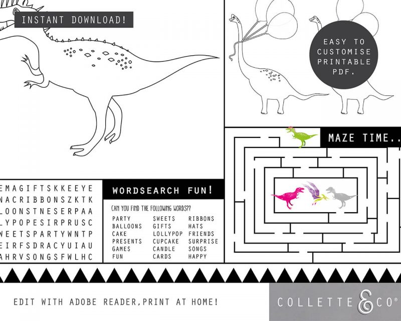 Printable Girl Dinosaur Pink Party Activity Sheets Coloring In Editable Collette and Co 2