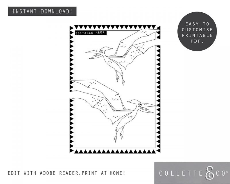 Printable Girl Dinosaur Pink Party Activity Sheets Coloring In Editable Collette and Co 3