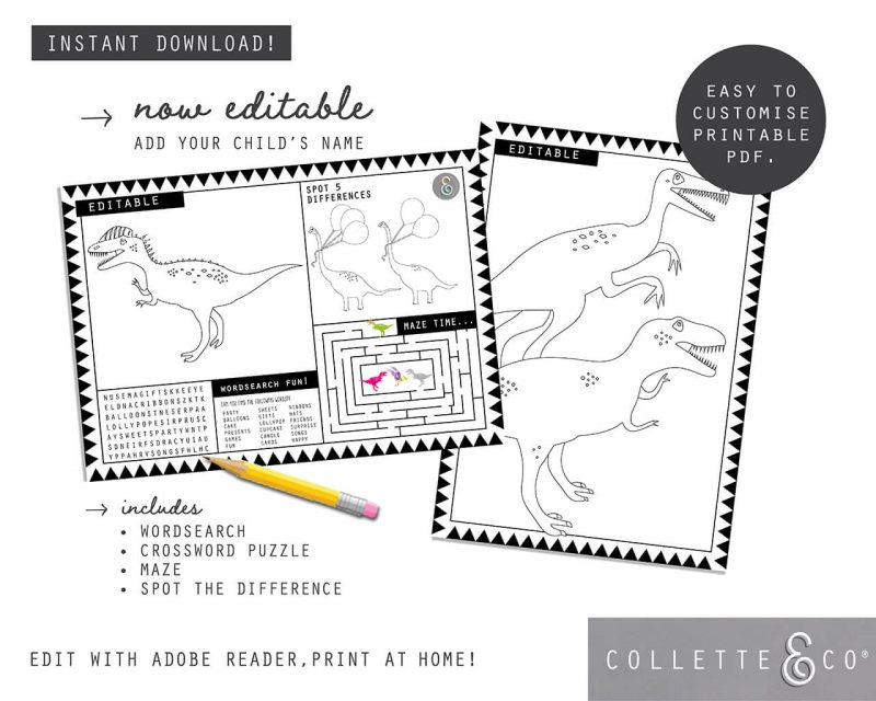 Printable Girl Dinosaur Pink Party Activity Sheets Coloring In Editable Collette and Co 4