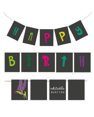 Printable Girl Dinosaur Pink Party Birthday Bunting Editable Collette and Co 2
