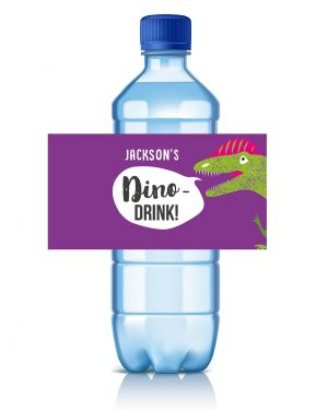 Printable Girl Dinosaur Pink Party Drinks Label Editable Collette and Co 1