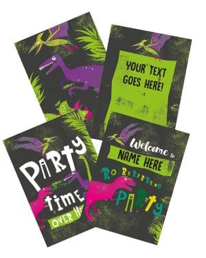Printable Girl Dinosaur Pink Party Poster Pack x4 Editable Collette and Co 1
