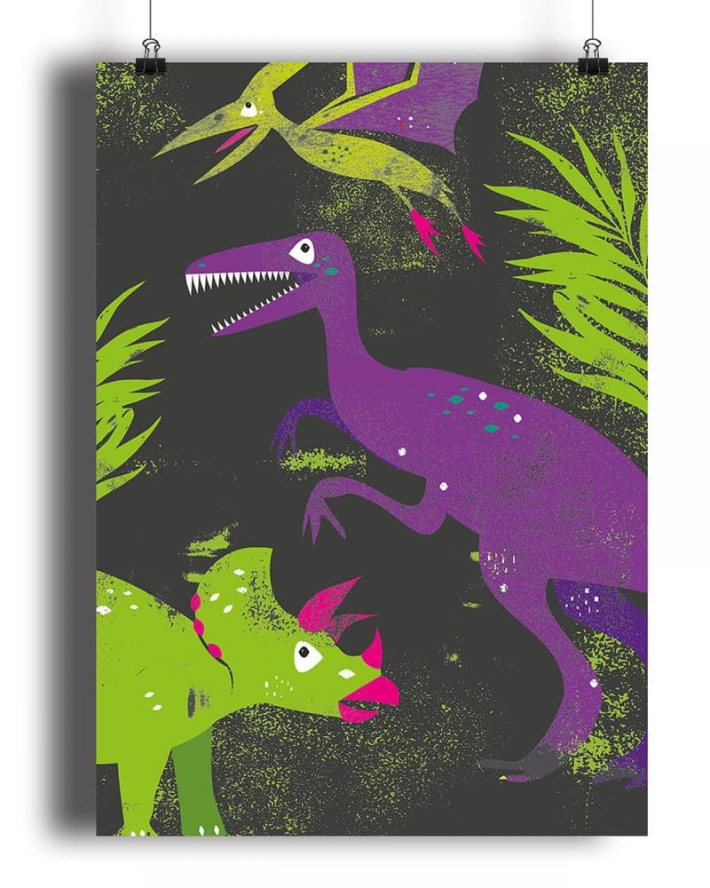 Printable Girl Dinosaur Pink Party Poster Pack x4 Editable Collette and Co 3