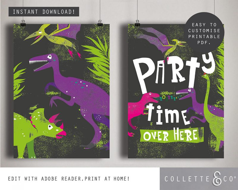 Printable Girl Dinosaur Pink Party Poster Pack x4 Editable Collette and Co 6