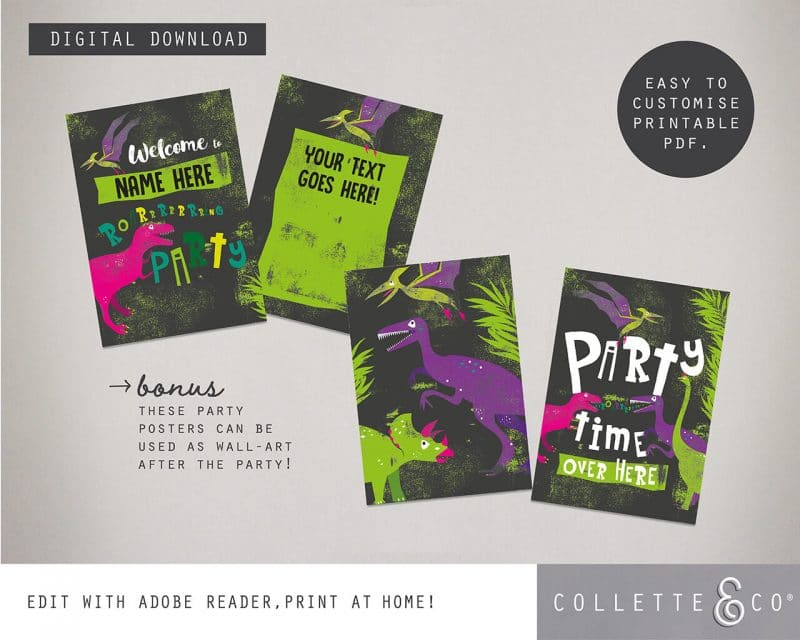 Printable Girl Dinosaur Pink Party Poster Pack x4 Editable Collette and Co 8