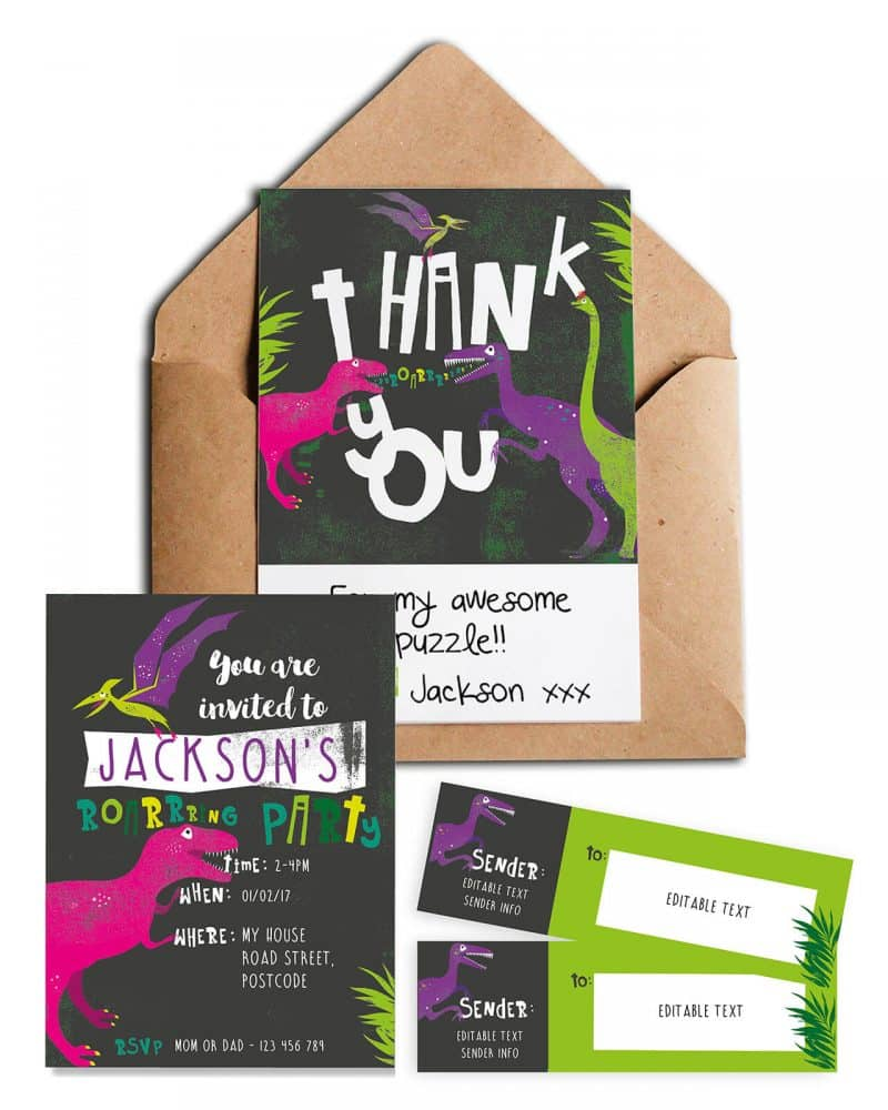 Printable Girl Dinosaur Stationery Pack Editable Collette and Co 1