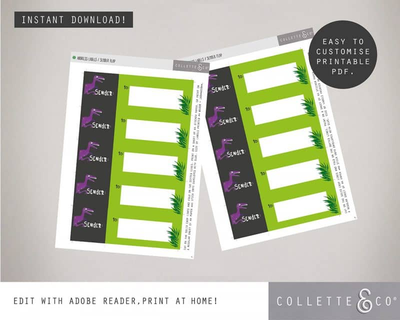 Printable Girl Dinosaur Stationery Pack Editable Collette and Co 10