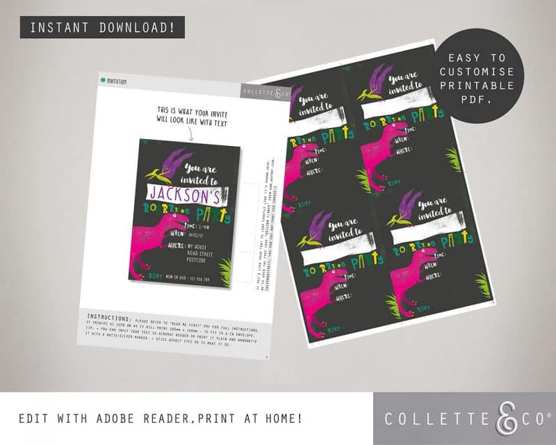 Printable Girl Dinosaur Stationery Pack Editable Collette and Co 4