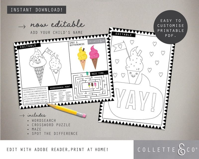 Printable Ice Cream Party Activity Sheets Coloring In Editable Collette and Co 1