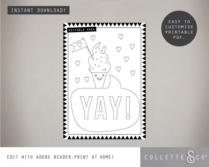 Printable Ice Cream Party Activity Sheets Coloring In Editable Collette and Co 2