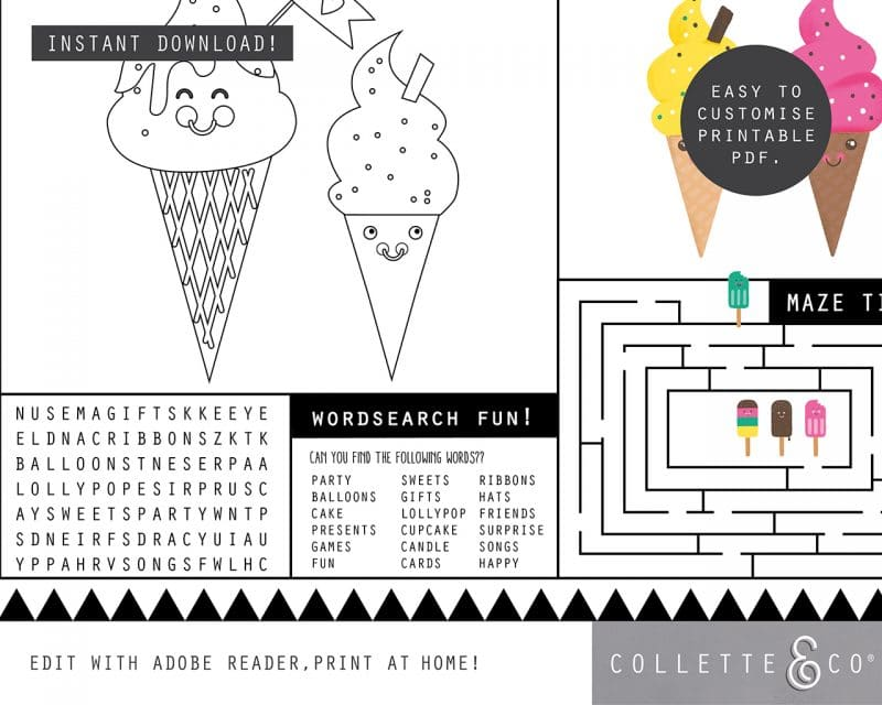 Printable Ice Cream Party Activity Sheets Coloring In Editable Collette and Co 3