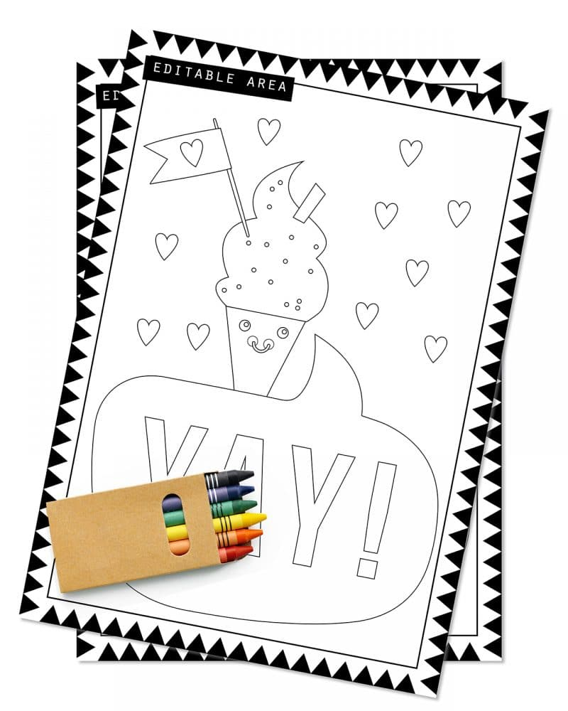 Printable Ice Cream Party Activity Sheets Coloring In Editable Collette and Co 4