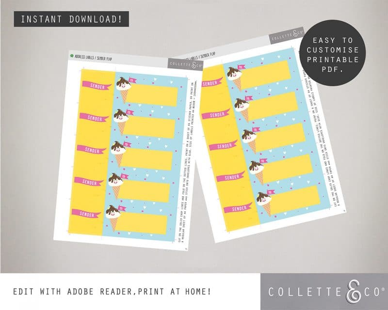 Printable Ice Cream Party Address Labels Editable Download Collette and Co 2