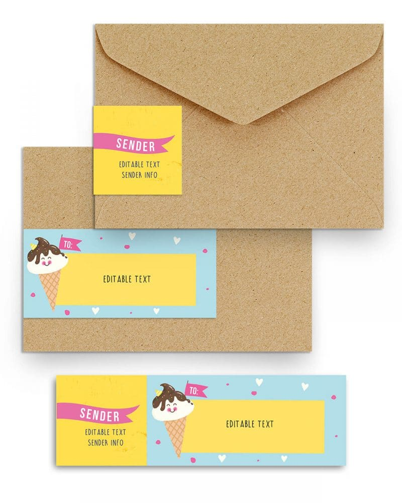 Printable Ice Cream Party Address Labels Editable Download Collette and Co 3