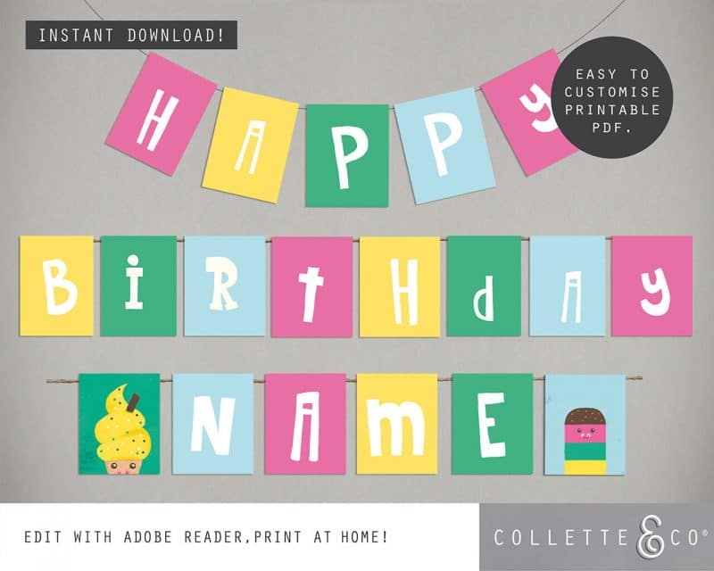 Printable Ice Cream Party Birthday Bunting Editable Collette and Co 1
