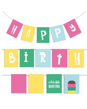 Printable Ice Cream Party Birthday Bunting Editable Collette and Co 2