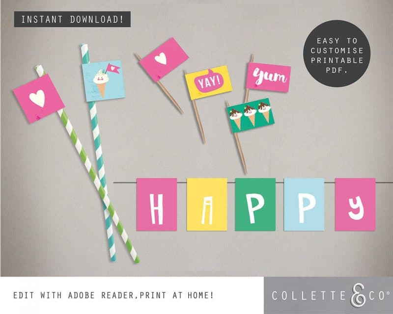 Printable Ice Cream Party Food Flags Straw Flags Editable Collette and Co 1