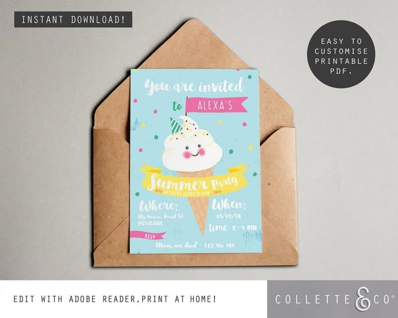 Printable Ice Cream Party Invitation Instant Download Collette and Co 2