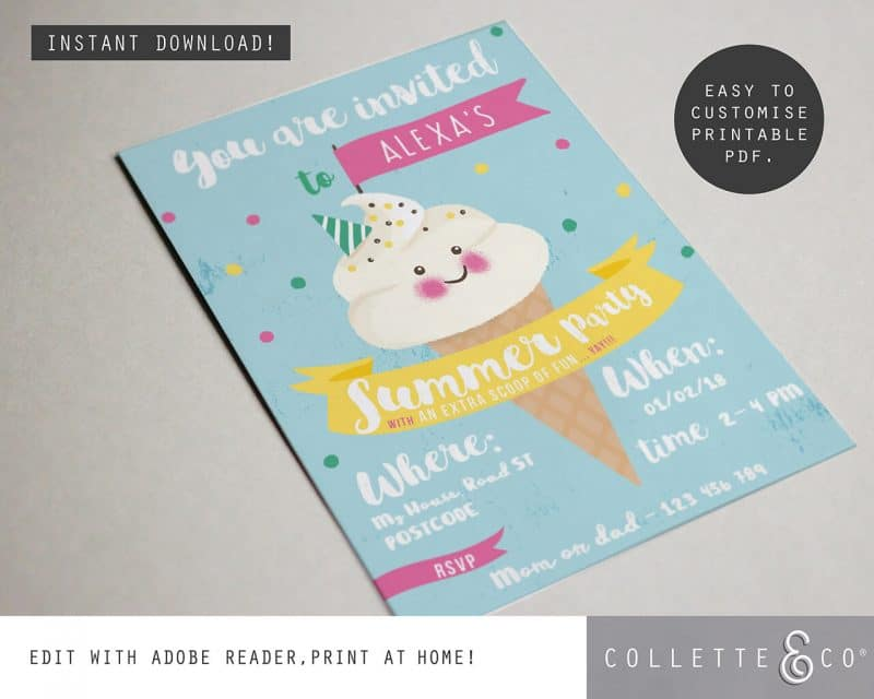 Printable Ice Cream Party Invitation Instant Download Collette and Co 3