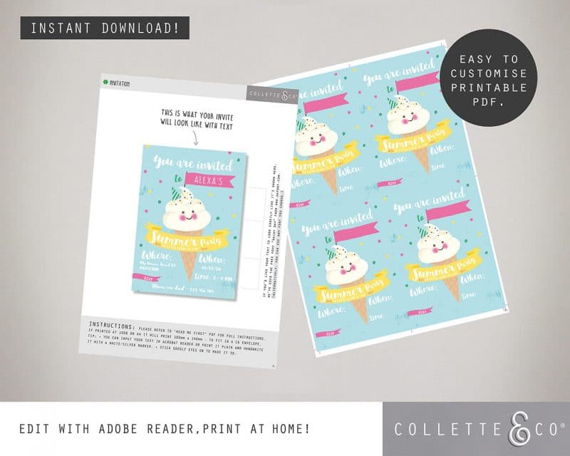 Printable Ice Cream Party Invitation Instant Download Collette and Co 4