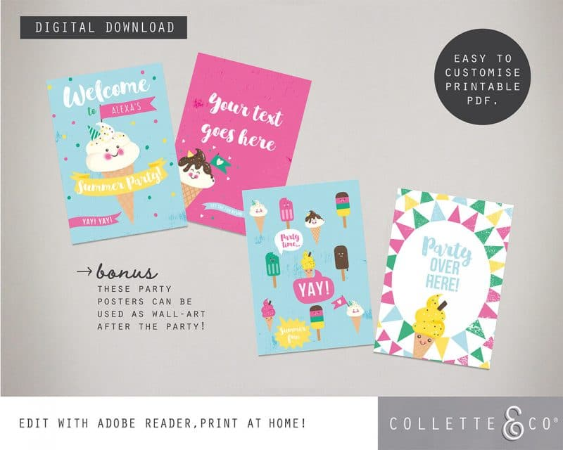 Printable Ice Cream Party Poster Pack x4 Editable Collette and Co 1