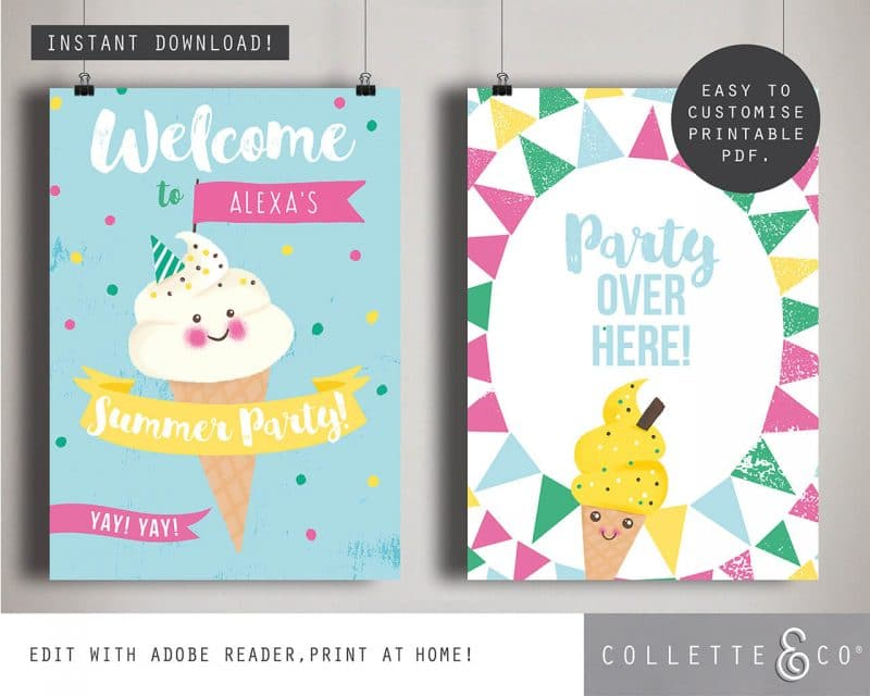 Printable Ice Cream Party Poster Pack x4 Editable Collette and Co 2