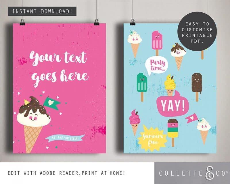 Printable Ice Cream Party Poster Pack x4 Editable Collette and Co 3