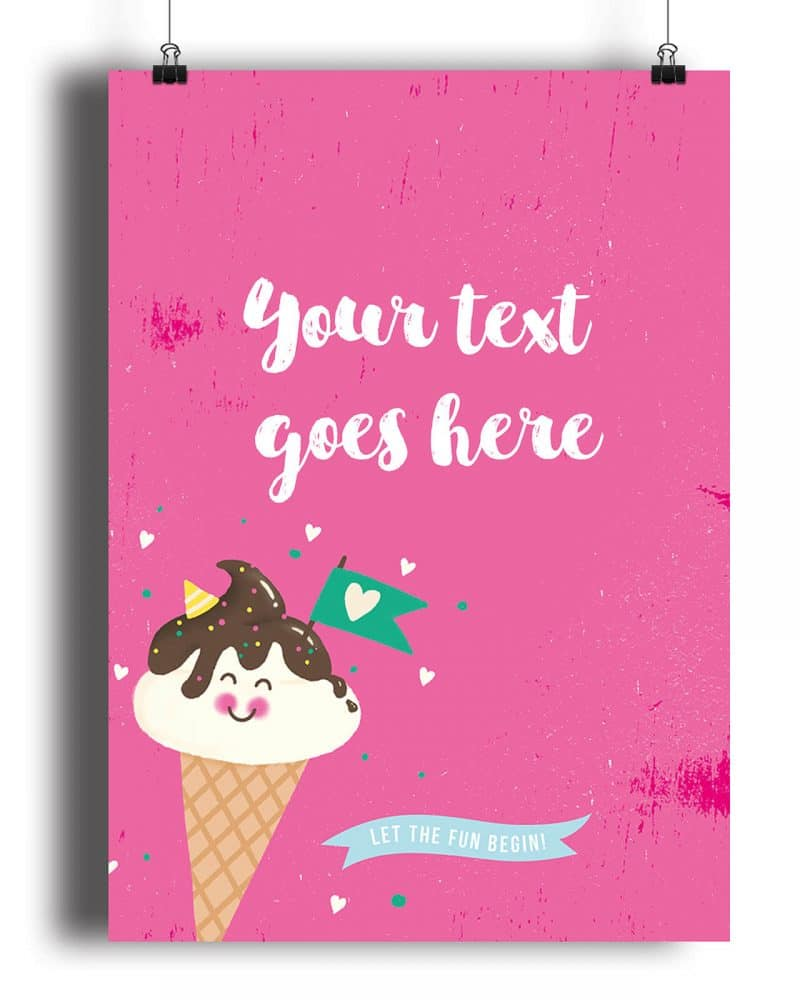 Printable Ice Cream Party Poster Pack x4 Editable Collette and Co 5
