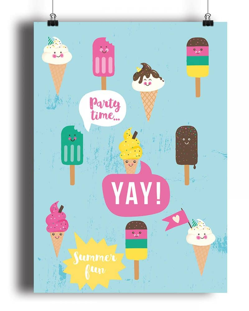 Printable Ice Cream Party Poster Pack x4 Editable Collette and Co 6