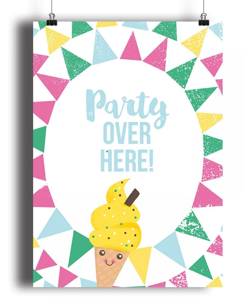Printable Ice Cream Party Poster Pack x4 Editable Collette and Co 7